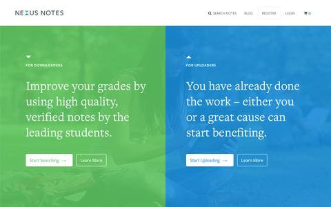 Screenshot of Home Page nexusnotes.com - Nexus Notes - The #1 marketplace for student notes - captured Jan. 26, 2015