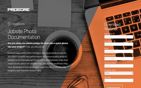 Screenshot of Landing Page procore.com - Jobsite Photo Documentation - captured April 11, 2016
