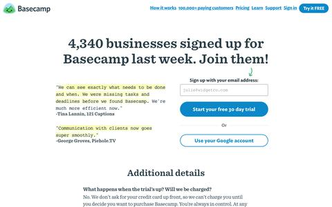 Screenshot of Signup Page basecamp.com - Sign up for Basecamp 3 - captured Aug. 24, 2017