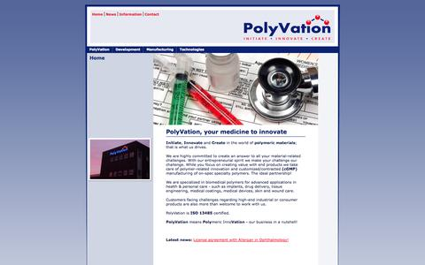 Screenshot of Home Page polyvation.com - PolyVation - polymers - development - synthesis - manufacturing - captured Sept. 30, 2014