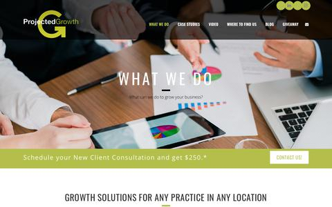 Screenshot of Services Page projectedgrowthconsulting.com - What We Do - Projected Growth Consulting - captured July 13, 2018