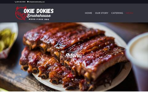 Screenshot of Menu Page okiedokiesbbq.com - Menu | Okie Dokies Smokehouse, North Carolina Barbeque - captured April 22, 2017