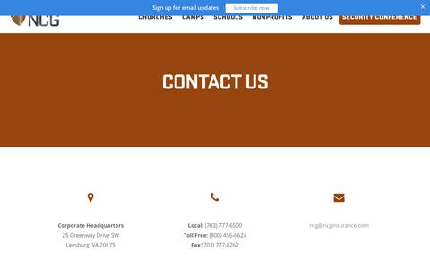 Screenshot of Contact Page ncginsurance.com - Contact Us | NCG Insurance - captured Sept. 21, 2018