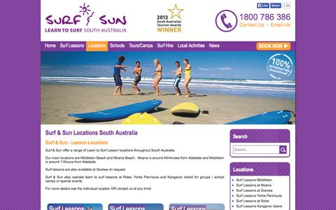 Screenshot of Locations Page surfandsun.com.au - Surf & Sun Locations South Australia - Surf & Sun - captured Oct. 7, 2014