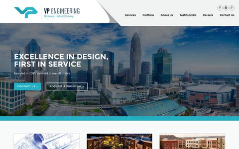Screenshot of Home Page vpce.com - VP Engineering | Excellence in Design, First in Service - captured Feb. 15, 2016
