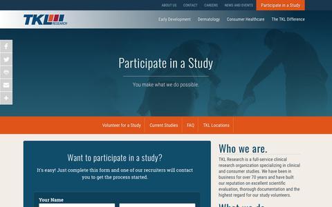 Screenshot of FAQ Page tklresearch.com - Participate in a Study - TKL Research - captured Sept. 21, 2018