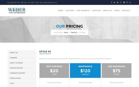 Screenshot of Pricing Page weberhvac.com - Pricing | Weber HVAC & Mechanical - captured Feb. 24, 2016
