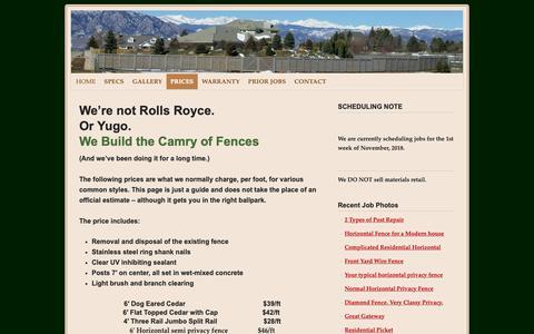 Screenshot of Pricing Page alpinefenceonline.com - Denver best fence price | Alpine Fence of Colorado, LLC - captured Oct. 3, 2018