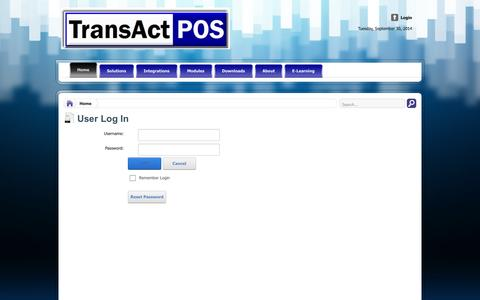 Screenshot of Login Page transactpos.com - User Log In - captured Oct. 1, 2014