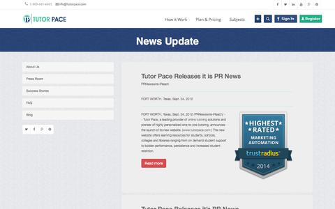 Screenshot of Press Page tutorpace.com - Press Releases for latest News about Online Tutoring   Tutorpace - captured Oct. 25, 2014