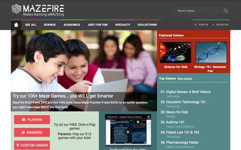 Screenshot of Home Page mazefire.com - MazeFire - Digital Maze Games - captured Sept. 3, 2015