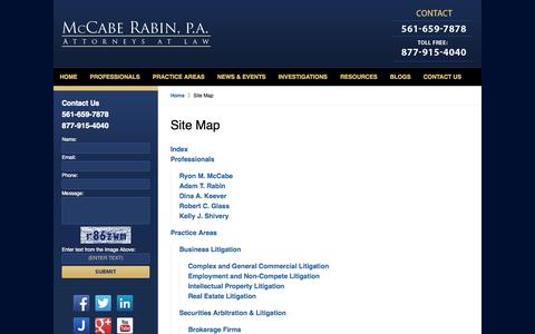 Screenshot of Site Map Page mccaberabin.com - Florida Business Litigation Attorney | Florida Class Action Lawyer - captured Oct. 27, 2014