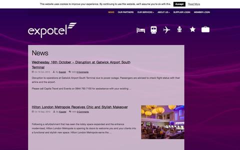 Screenshot of Press Page expotel.com - News | Expotel - captured Sept. 18, 2014