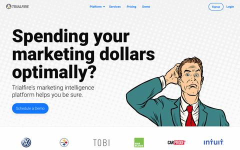 Screenshot of Home Page trialfire.com - Marketing Intelligence, Attribution and Analytics Platform | Trialfire - captured Jan. 9, 2018
