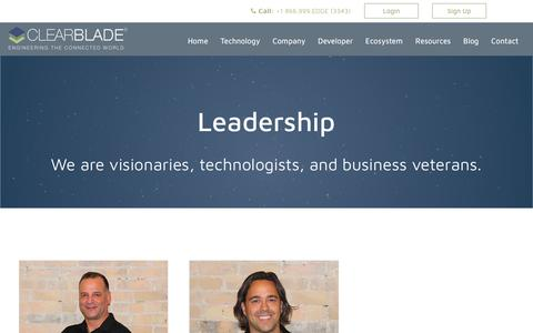 Screenshot of Team Page clearblade.com - Leadership - captured July 19, 2018
