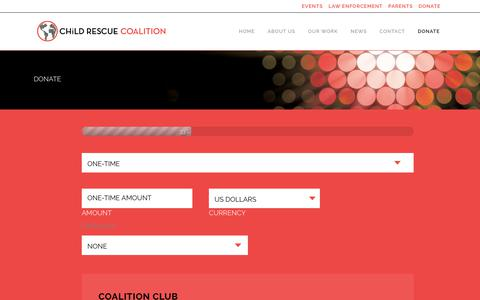 Screenshot of Signup Page childrescuecoalition.org - Child Rescue Coalition - Contact & Donate - captured July 17, 2018