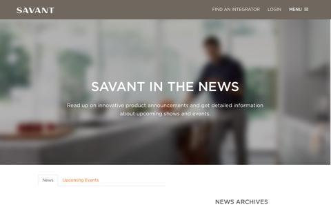 Screenshot of Press Page savant.com - News | Savant Systems - captured Oct. 29, 2014