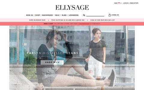 Screenshot of Home Page ellysage.com - Fashion Online Shopping Singapore - Online Fashion Shopping - captured Sept. 11, 2015