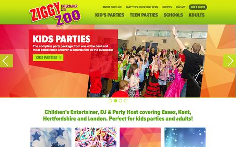 Screenshot of Home Page ziggyzoo.co.uk - Ziggy Zoo, Essex-based Kid's Entertainer, DJ & Party Host - captured Sept. 5, 2015