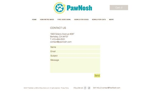 Screenshot of Contact Page pawnosh.com - Contact PawNosh - captured May 15, 2017