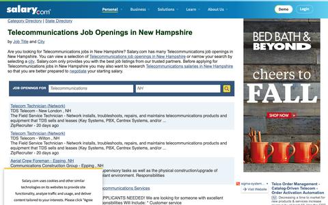 Screenshot of Jobs Page salary.com - Telecommunications Job Openings in New Hampshire | Salary.com - captured Oct. 26, 2018