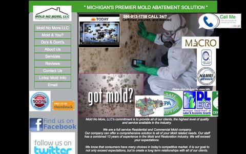Screenshot of Home Page moldnomorellc.com - Michigans Premier Mold Abatement Soultion  Mold No More, LLC. - captured Oct. 7, 2014