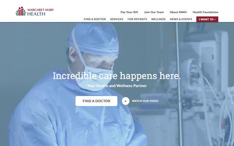 Screenshot of Home Page mmhealth.org - Health and Wellness Community Hospital | Margaret Mary Health - captured Sept. 30, 2017