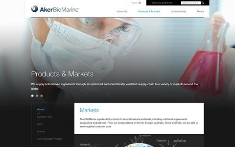 Screenshot of Products Page akerbiomarine.com - Markets - AkerBioMarine - captured Feb. 5, 2016