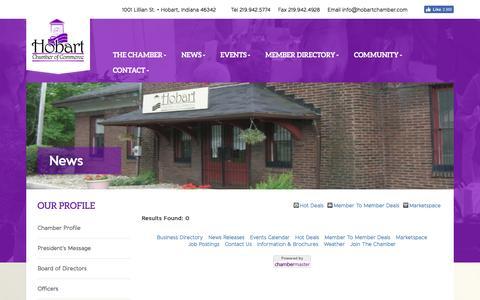 Screenshot of Press Page hobartchamber.com - News - Hobart Chamber of Commerce - captured Nov. 10, 2016