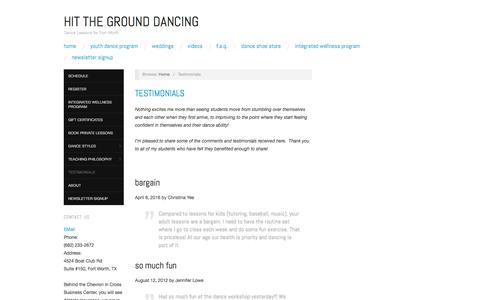 Screenshot of Testimonials Page hitthegrounddancing.com - Testimonials – Hit the Ground Dancing - captured May 20, 2017