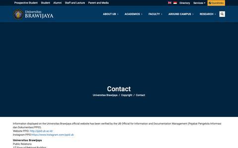 Screenshot of Contact Page ub.ac.id - Contact | Universitas Brawijaya - captured Nov. 7, 2018