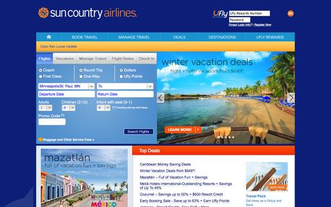 Screenshot of Home Page suncountry.com - Sun Country Airlines   Airline Tickets, Flights and Airfare - captured Sept. 23, 2014