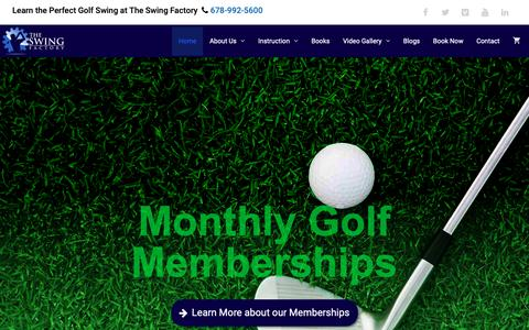 Screenshot of Home Page swingfactory.com - Golf Lessons & Virtual Golf Driving Range in Roswell, GA | The Swing Factory - captured Nov. 19, 2018