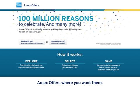 Screenshot of Home Page amexoffers.com - Amex Offers - captured Sept. 22, 2014