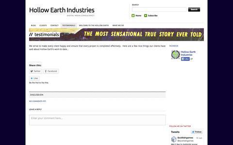 Screenshot of Testimonials Page hollowearthindustries.com - Testimonials | Hollow Earth Industries - captured Sept. 30, 2014