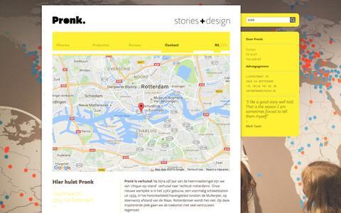 Screenshot of Contact Page pronkstudio.nl - Contact - Pronk - captured Oct. 11, 2016