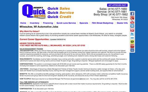 Screenshot of Jobs Page heisersquickmotors.com - Milwaukee, WI | Automotive Dealership Careers & Jobs at Heiser's Quick Motors - captured Oct. 2, 2014
