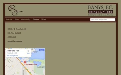 Screenshot of Contact Page banyspc.com - Contact | Banys, P.C., Trial Lawyers - captured Oct. 5, 2014