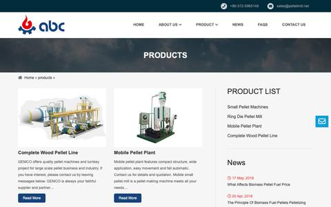 Screenshot of Products Page pelletmill.net - Pellet Press Machine for Sale - captured Oct. 2, 2018