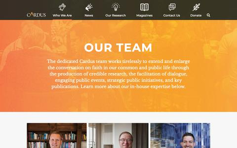 Screenshot of Team Page cardus.ca - Our Team - Cardus - captured Sept. 27, 2018