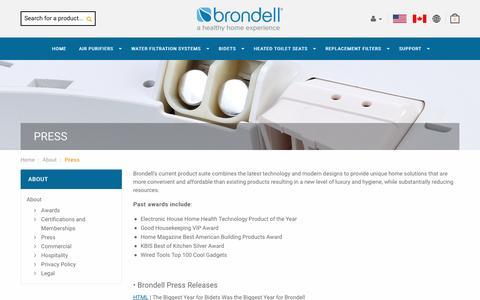 Screenshot of Press Page brondell.com - Press    Brondell - captured Oct. 17, 2016