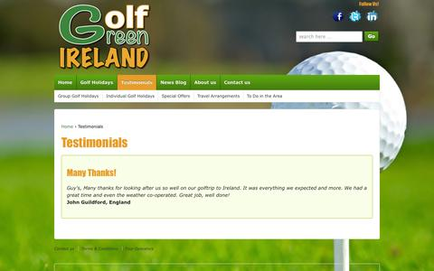 Screenshot of Testimonials Page golfgreenireland.com - Golf Green Ireland provides golfing holidays, golf packages and golf tours in Ireland - captured Oct. 27, 2014