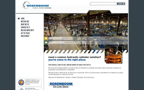 Screenshot of Home Page rosenboom.com - Rosenboom Manufacturing | Custom Crafted Hydraulic Cylinders - captured Oct. 6, 2014