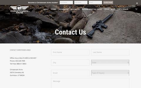 Screenshot of Contact Page christensenarms.com - Contact - Christensen Arms - captured May 17, 2017