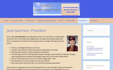 Screenshot of Team Page garthsonleadership.ca - Jane Garthson, President – Garthson Leadership Centre - captured July 17, 2017