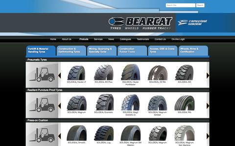 Screenshot of Products Page bearcat.com.au - Forklifts | Bearcat Tyres - captured Oct. 5, 2014