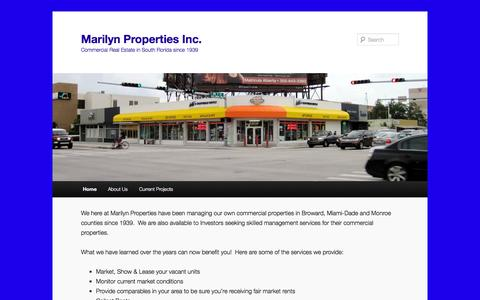 Screenshot of Home Page marilynproperties.com - Marilyn Properties Inc. | Commercial Real Estate in South Florida since 1939 - captured Oct. 4, 2014