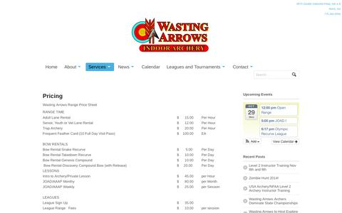 Screenshot of Pricing Page wastingarrows.com - Wasting Arrows Archery - Pricing - captured Oct. 29, 2014
