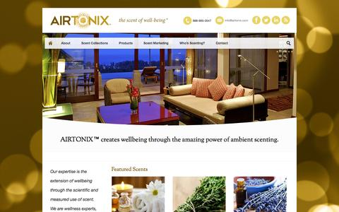 Screenshot of Home Page airtonix.com - AIRTONIX™ | the scent of well being - captured Sept. 30, 2014