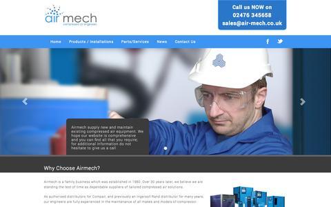 Screenshot of Home Page air-mech.co.uk - Nuneaton and Warwickshire Air Compressors | Airmech - captured Oct. 4, 2014